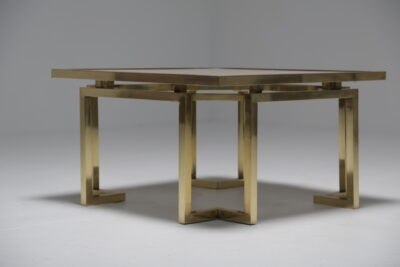 Mid Century Travertine and Brass Coffee Table