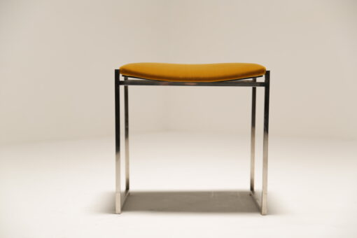 Willy Rizzo Luxe Gold Velvet & Chrome Stool