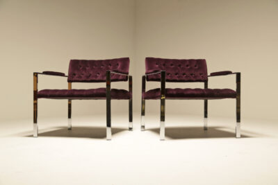 Mid Century Chrome Lounge Chairs in Plum Velvet by Harvey Probber