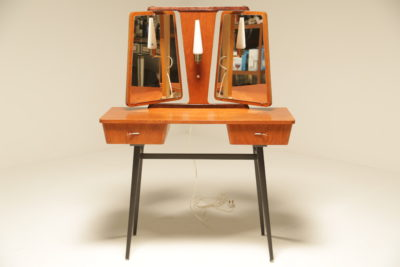 Teak Vanity Unit with Atomic Legs and Light