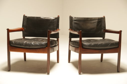 Rosewood and Leather Lounge Chairs by Sven Engstrom & Gunnar Myrstrand for Kallemo