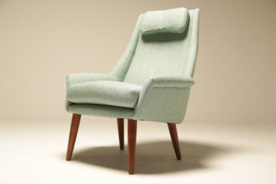 Danish Upholstered Highback Lounge Chair with Headrest Thams style