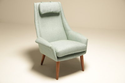 Danish Upholstered Highback Lounge Chair with Headrest