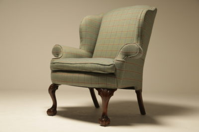 Victorian Mahogany Wingback Armchair with Claw and Ball Feet