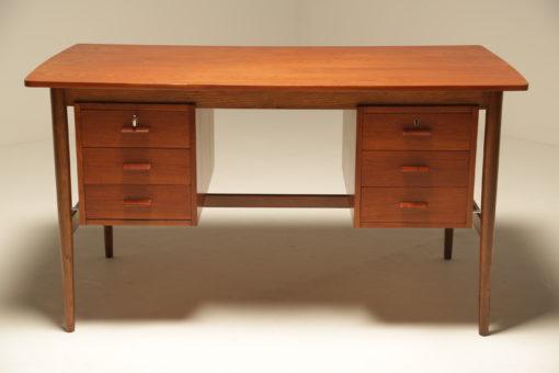 Danish Teak Writing Desk with 6 Drawers vintage teak desk the vintage hub