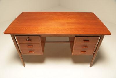 Danish Teak Writing Desk with 6 Drawers