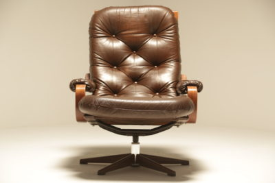 Danish Bentwood and Leather Swivel Chair