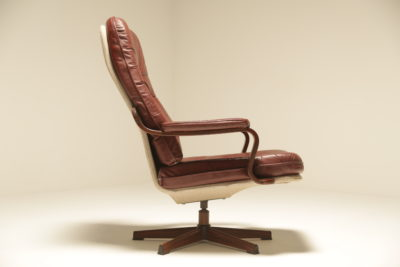 Burgundy Leather Lounge Chair by Gote Mobler, Sweden