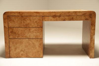 Mid-century Burlwood Curved Desk