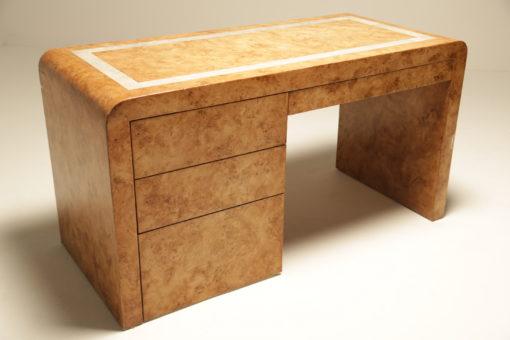 Mid-century Burlwood Curved Desk vintage desk