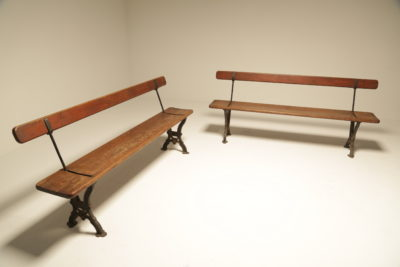 Victorian Reversible Cast Iron Railway Station Benches