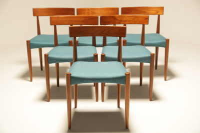 Arne Hovmand Olsen Dining Chairs for Mogens Kold vintage Danish teak dining chairs