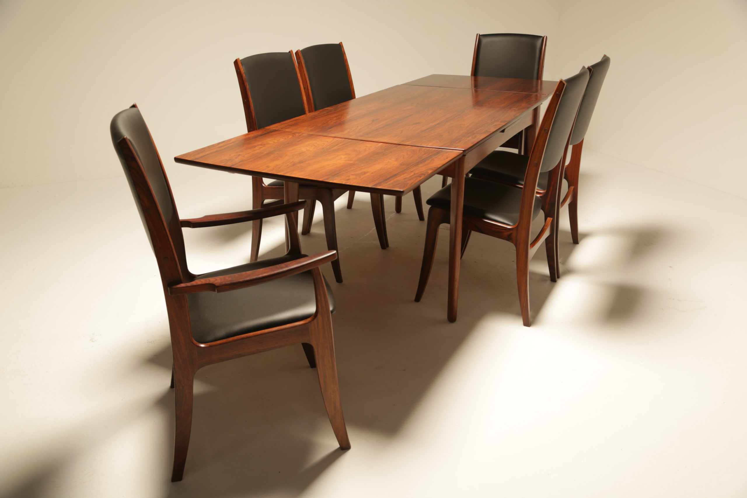 Set of 6 Rosewood High back Dining Chairs by Dyrlund