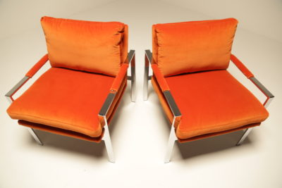 Milo Baughman Chrome Lounge chairs in Hermes Orange Velvet