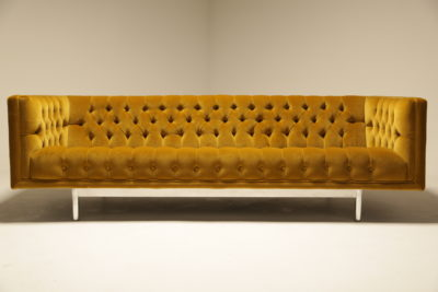 Gold Velvet Deep Buttoned Chesterfield Sofa by Jack Cartwright Inc.