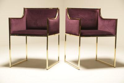 Mid-century Velvet and Brass Armchairs by Renato Zevi