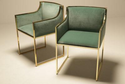 Mid-century Sea Blue Velvet and Brass Armchairs by Renato Zevi