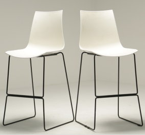 2 White High Stools