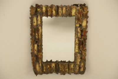 Brutalist Torch Cut Mixed Metals Mirror signed J. Zarali