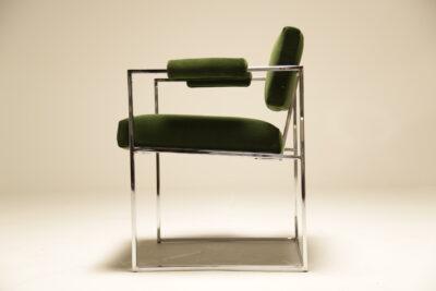 Milo Baughman Chrome and Green Velvet Armchair