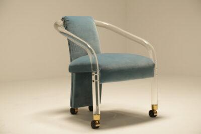"1970s ""Miami"" Sea Blue Velvet and Perspex Vanity Chair"