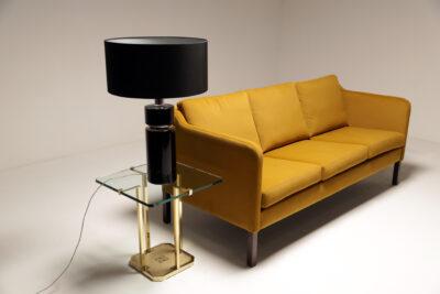 Danish Teak Frame Gold Velvet 3 Seat Sofa