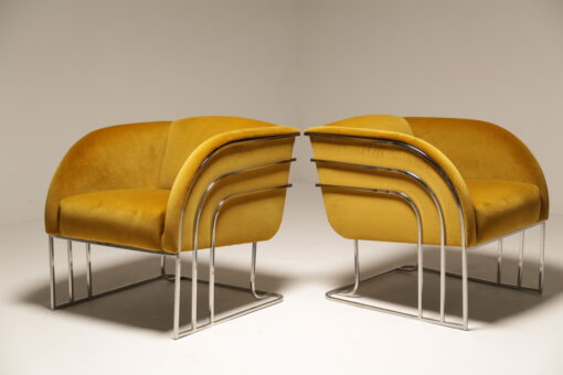 1970s Art Deco Gold Velvet and Chrome Milo Baughman Style Lounge Chairs