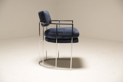 Blue Velvet Milo Baughman Chrome Arm Chair by Thayer Coggin Inc.