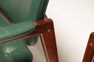 Vintage Green Leather & Rosewood Arm Chairs by Svegards for Markeryd