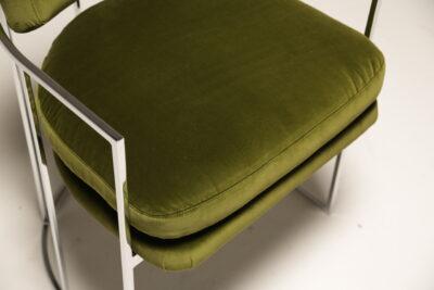 Green Velvet Milo Baughman Chrome Arm Chair by Thayer Coggin Inc.