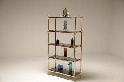 Mid Century Brass & Glass Etagere