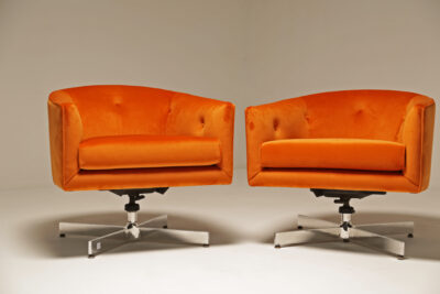Milo Baughman Orange Velvet Swivel Tub Chairs for Thayer Coggin
