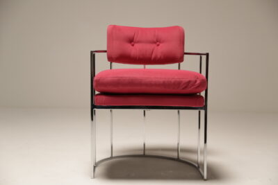 Pink Velvet Milo Baughman Chrome Arm Chair by Thayer Coggin Inc.