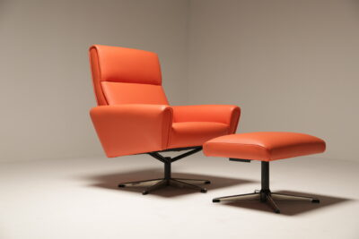Vintage Orange Vinyl Swivel Chair + Footstool