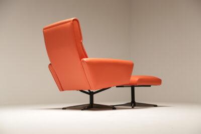 Vintage Orange Vinyl Swivel Chair + Footstool