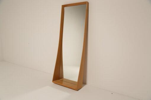 Vintage Swedish Beech Wood Mirror with shelf