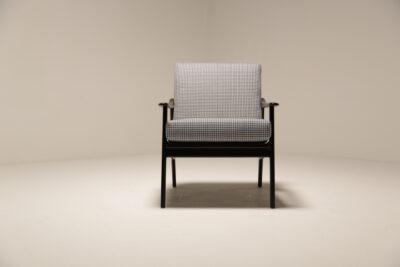 Vintage Black Slatted Arm Chairs