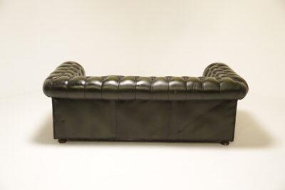 Green Vinyl Chesterfield 3 Seat Sofa