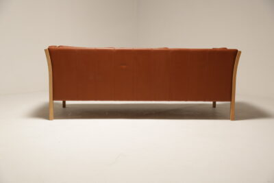 Vintage Danish Stouby Cognac Brown Leather Sofa