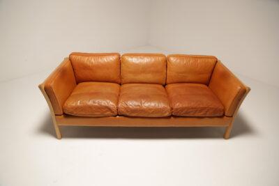 Vintage Danish Stouby Tan Leather Sofa