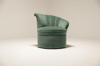 Art Deco Shell Aqua Marine Velvet Bedroom Chairs