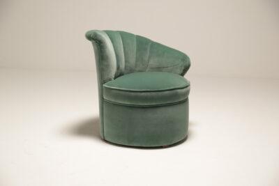 Art Deco Shell Aqua Marine Velvet Bedroom Chairs [ON HOLD]