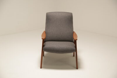 Vintage Grey Tweed Teak Arm Chair