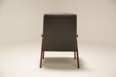 Vintage Grey Tweed Teak Arm Chair