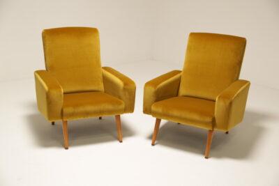 Vintage 1960s Ib Kofod Larsen Cotton Gold Velvet Armchairs