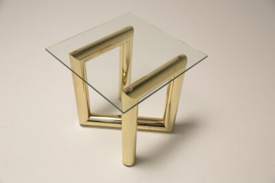 Mid Century 1970s Brass & Glass Zig-Zag Z Tubular End Table