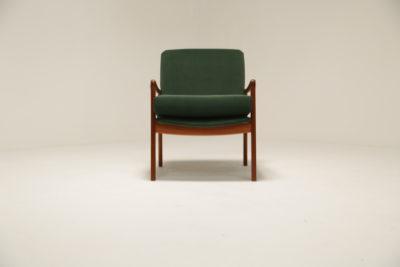 Vintage Ole Wanscher Style Danish Green Velvet Armchair