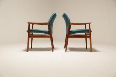 Vintage Pair of Danish Grete Jalk Armchairs in Teal