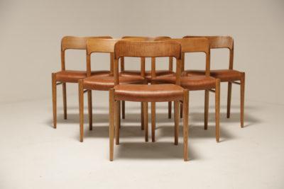 Vintage Set of Danish Niels Moller Model 75 Oak Dining Chairs