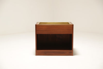 Vintage Rosewood and Brass Planter